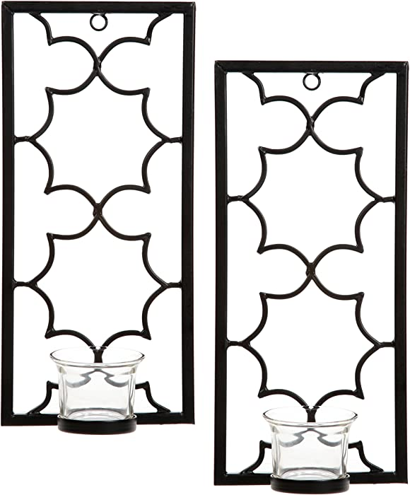 """Hosley's Set of Two, 11"""" High Iron Tea Light LED Candle Wall Sconces, Black. Hand Made by Artisans. Ideal Gift for Wedding, Special Occasion, Spa, Aromatherapy, Meditation Setting. O3"""