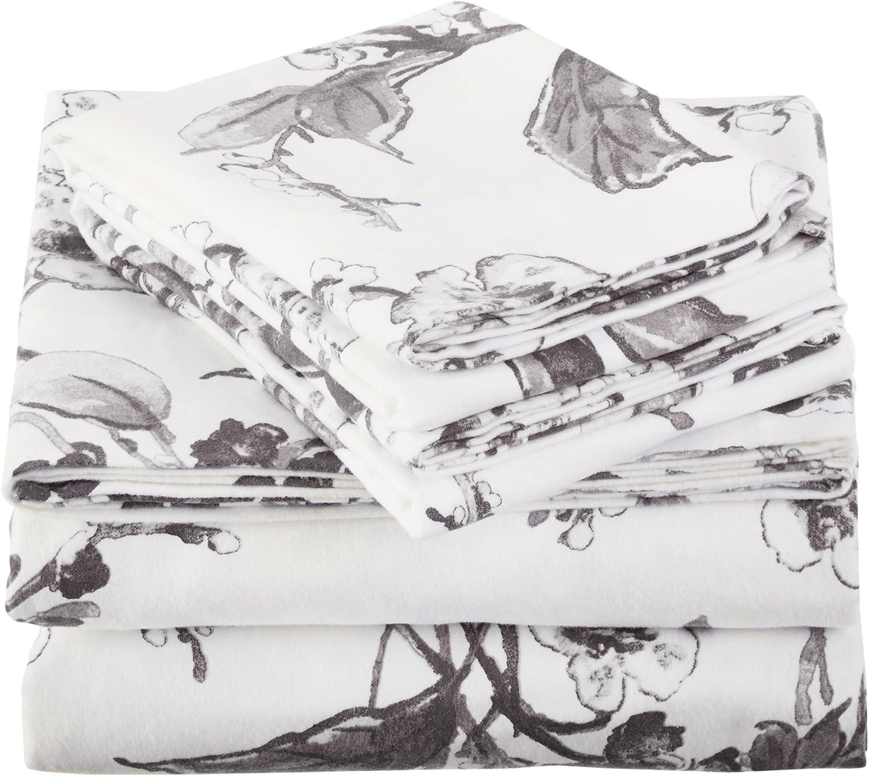 King Floral Graphite Pinzon Signature 190-Gram 100/% Cotton Heavyweight Velvet Flannel Bed Sheet Set