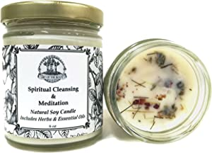Art of the Root Spiritual Cleansing & Meditation 8 oz Soy Herbal Candle for Intuition, Purification, Wisdom & Clarity