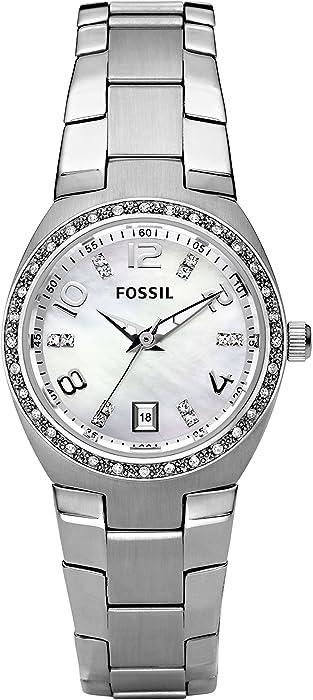 d4bddb20682c Fossil Reloj Analógico para Mujer de Cuarzo con Correa en Acero Inoxidable  AM4141