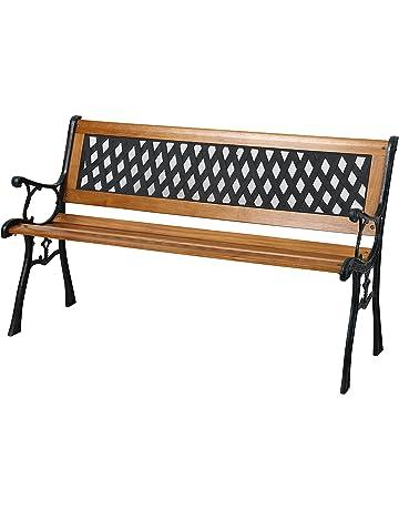 Banco de jardín con listones de madera y patas de hierro fundido, ...