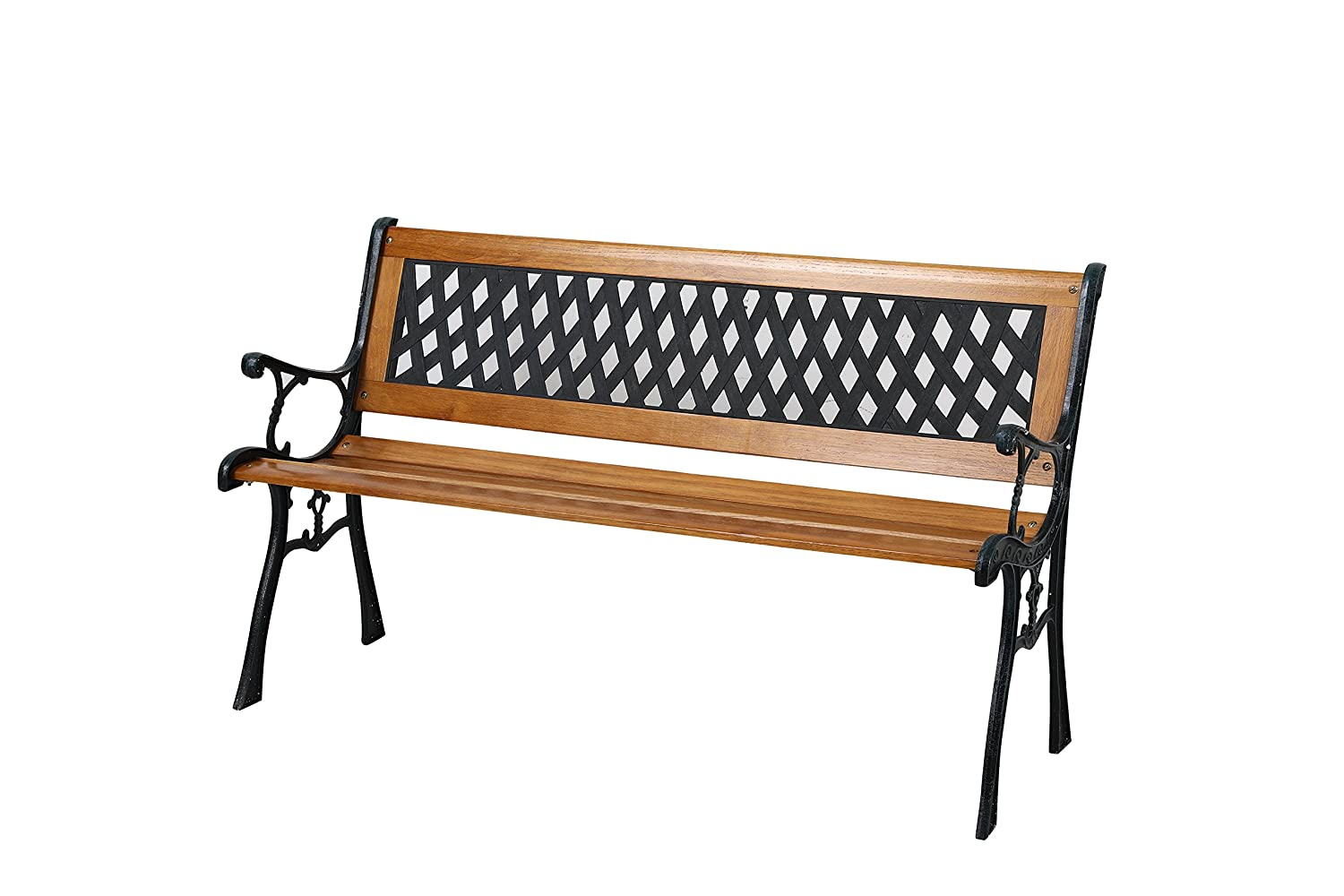 3 Seater Garden Patio Bench with Hardwood Slats and Cast Iron Legs Bespoke garden