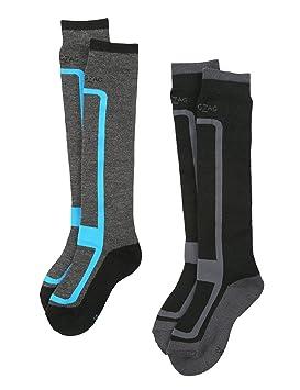 a7bf7f693f50 Ultrasport Zigzag Lot de 2 chaussettes de ski fille et garçon Williams,  gris foncé mélange