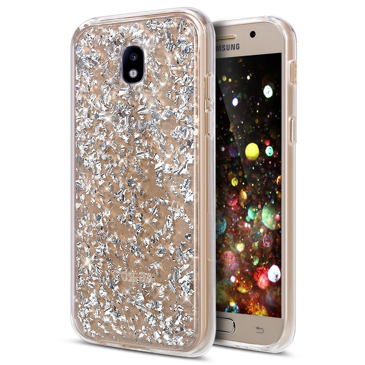 Galaxy J5 Pro Case, ikasus Ultra Thin Clear Crystal Bling Shiny Giltter Rhinestone Clear Rubber Frame Transparent TPU Soft Silicone Bumper Case Cover for Samsung Galaxy J5 Pro (2017) J530, Silver 4334995157
