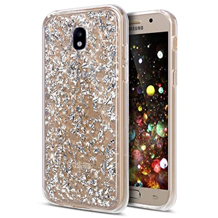 finest selection 8cfe3 f098a Galaxy J7 Pro Case,ikasus Ultra Thin Clear Crystal Bling Shiny Giltter  Rhinestone Clear Rubber Frame Transparent TPU Soft Silicone Bumper Case  Cover ...