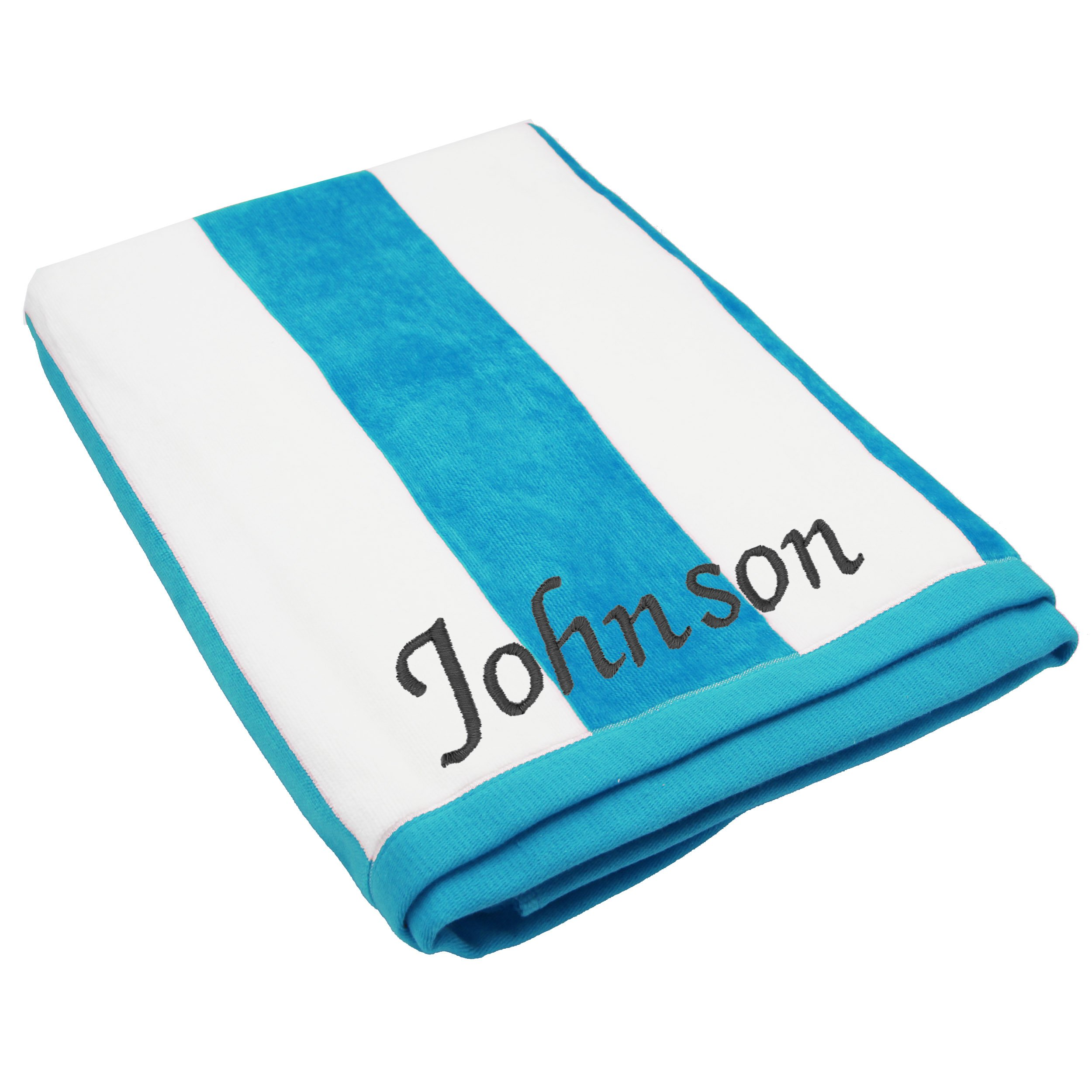 The Wedding Party Store Premium Personalized Striped Cabana Beach Towel 35'' x 60'' - Monogrammed Pool Towels Gift - Custom Embroidered for Free (Turquoise)