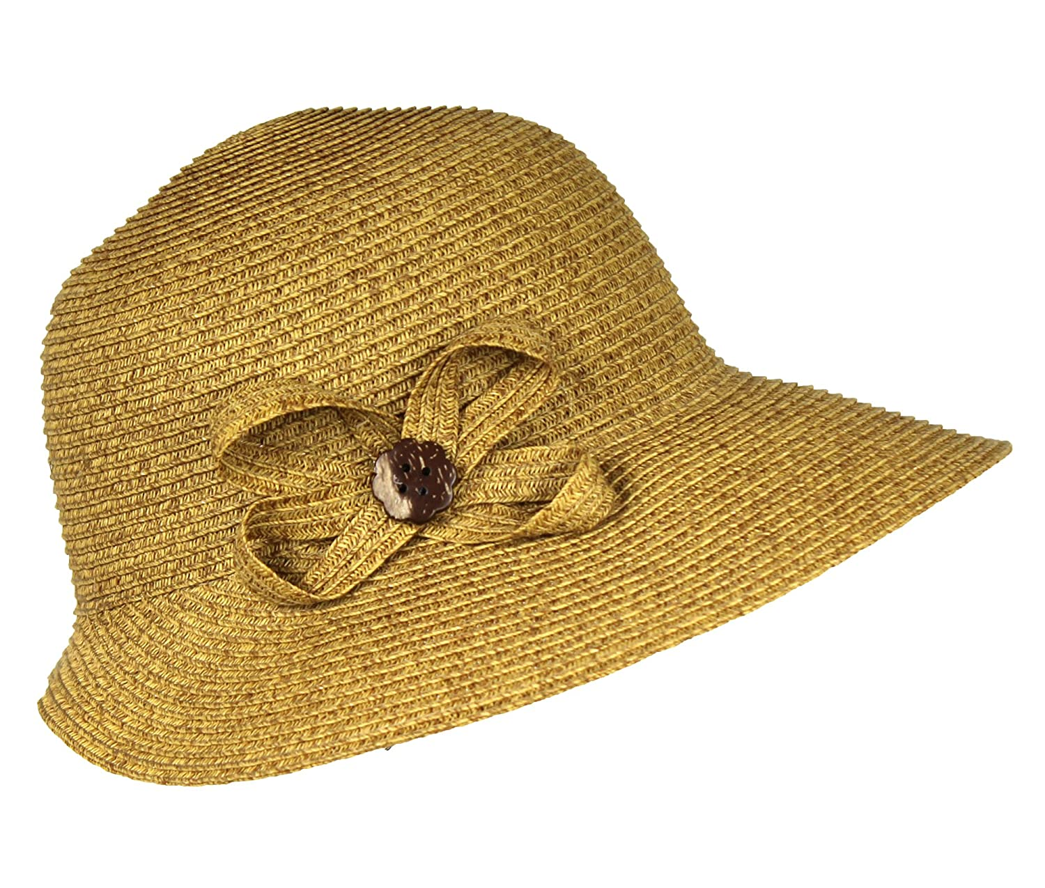 1920s Accessories | Great Gatsby Accessories Guide SPF 50+ Packable Straw Cloche Sun Hat w/ Flower – UV Blocking Summer Bucket Cap $21.99 AT vintagedancer.com