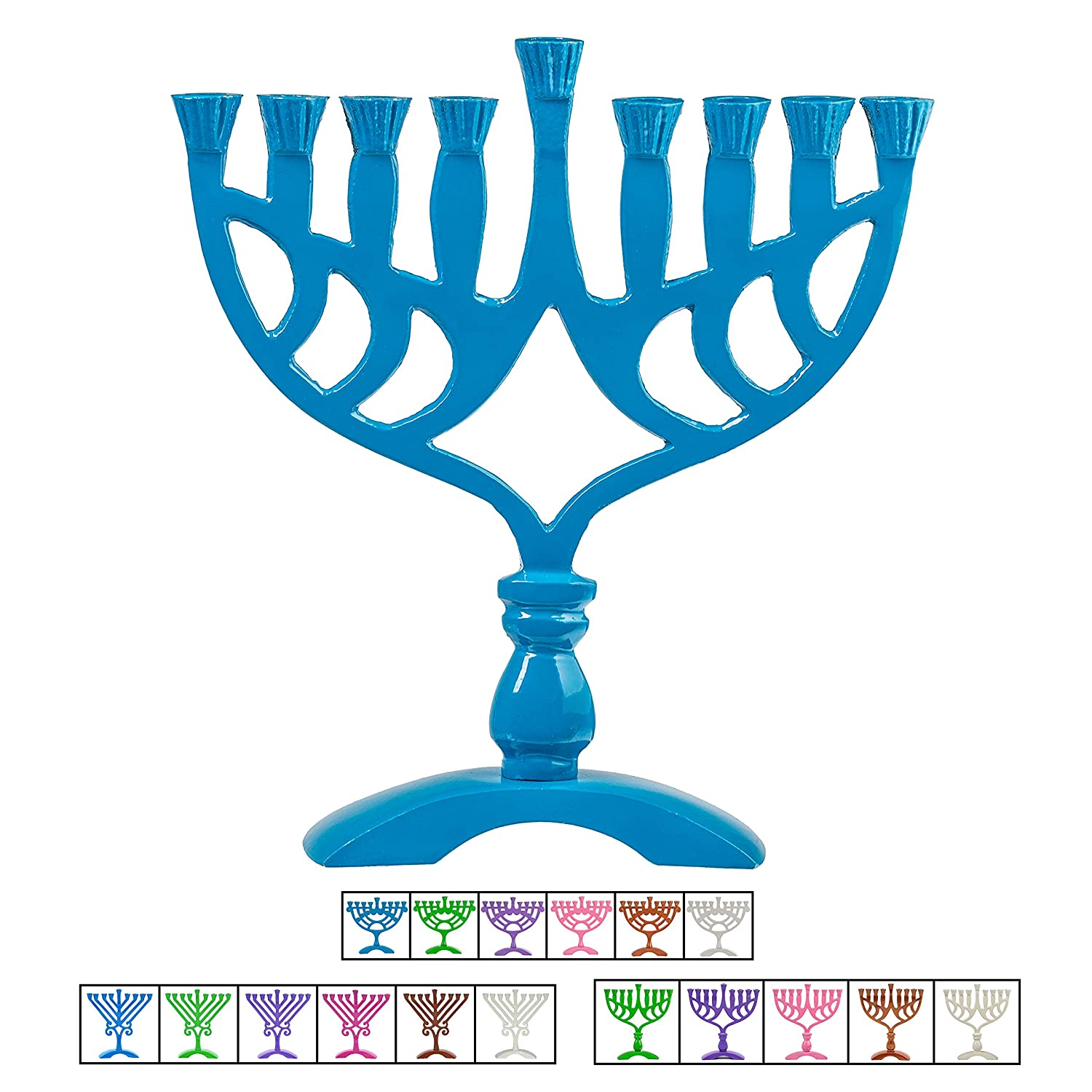 Ner mitzvah colored candle menorah fits all standard chanukah candles blue geometric design 7 5 high