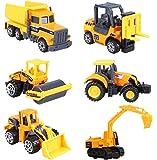 Cltoyvers 6 Pcs Mini Metal Construction Vehicle Toys Set for Kids - Forklift, Bulldozer, Road Roller, Excavator, Dump Truck, Tractor