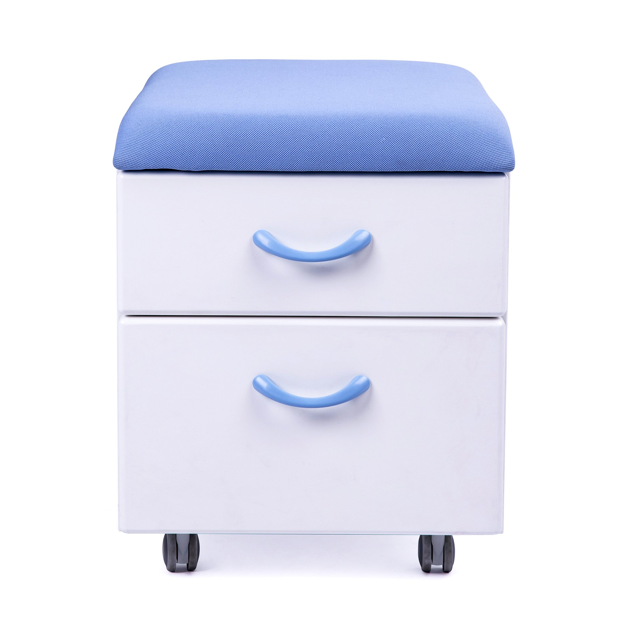 Sunon Soft Seating Pedestal Mobile 2-Drawer File Cabinet with Cushion for Kids or Parents Seating (Blue)