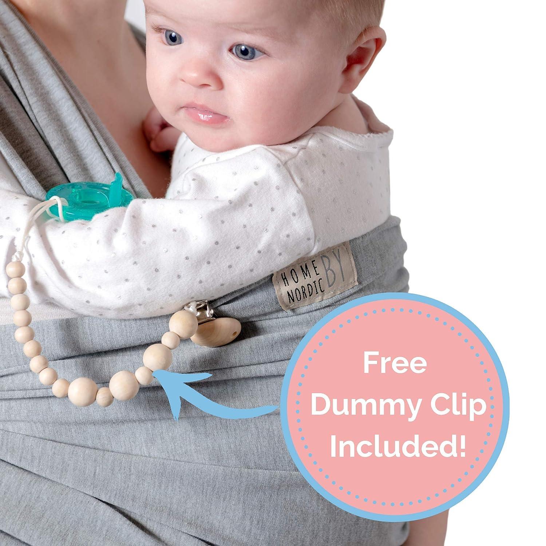 dehnbar geeignet von Neugeborenen bis 16 kg Nordic Baby-Tragetuch mit Schnuller-Clip und eBook