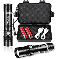OTYTY USB Rechargeable LED Flashlight, Super Bright High Powered 1000 Lumen Tactical Flashlights Torch with 3 Modes…