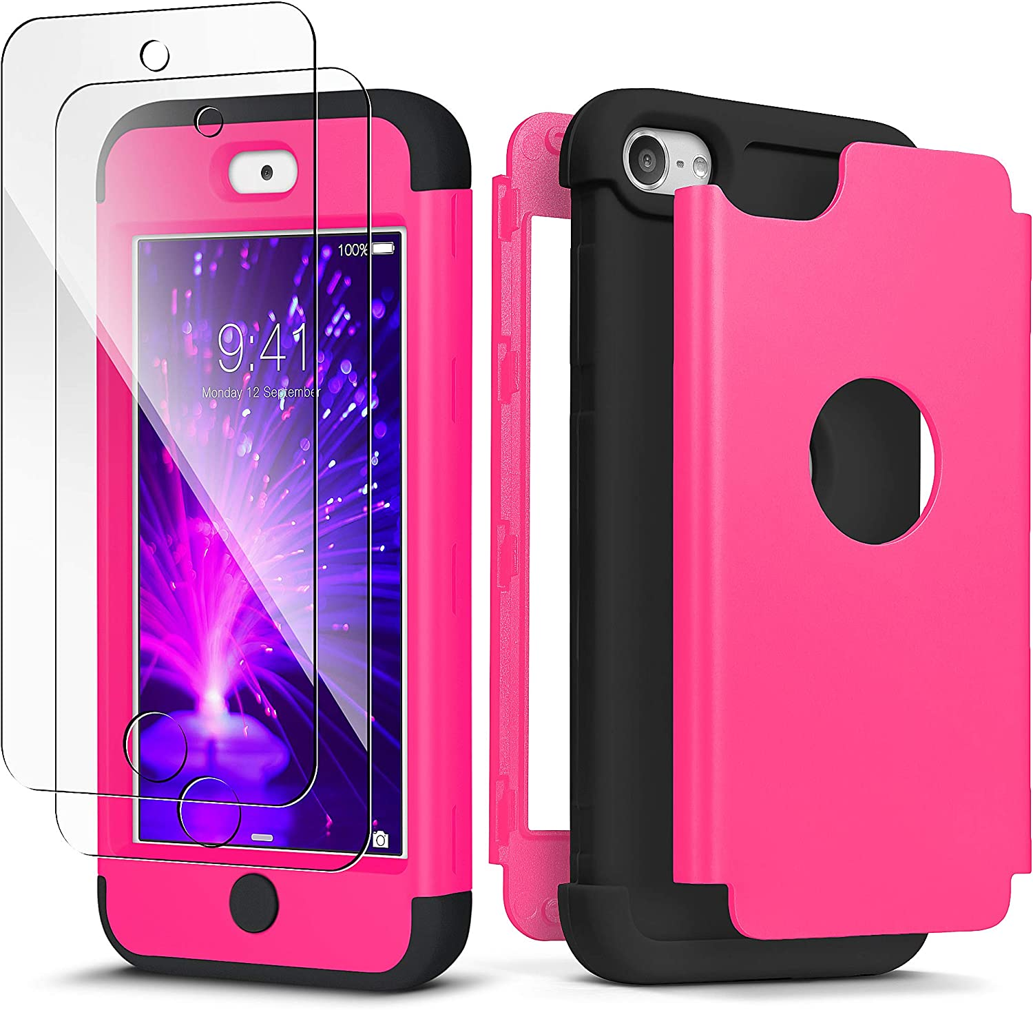 iPod Touch 7th Generation Case with 2 Screen Protector, IDweel Heavy Duty High Impact Armor Shockproof Case Cover Protective Case for Apple iPod Touch 5/6/7th Generation, Rose+Black