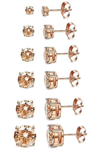 LOYALLOOK 6 Pairs Rose Gold Earrings Rose Gold CZ Earrings For Women Girls  Stainless Steel Stud 32d5faeeeb