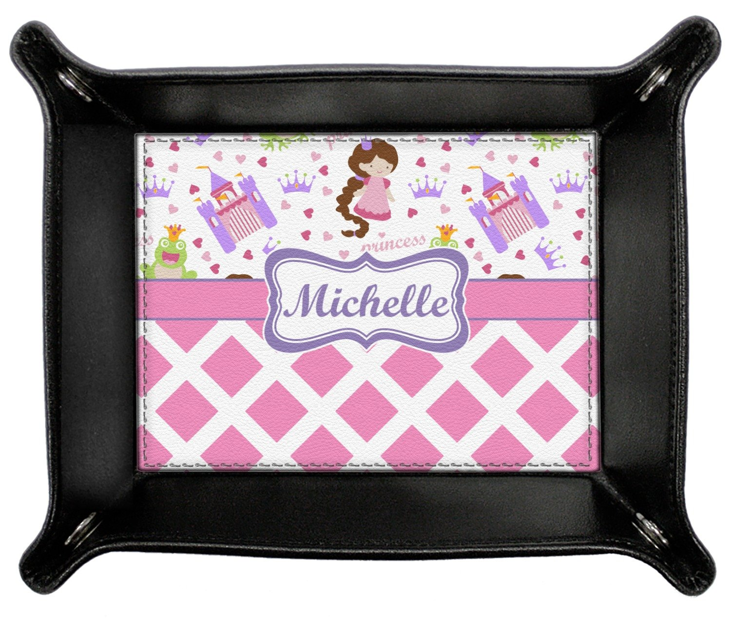 Princess & Diamond Print Genuine Leather Valet Tray (Personalized)