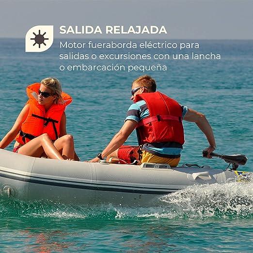 Waldbeck Barracuda 50 Motor fueraborda Barca eléctrico (Empuje/Fuerza: 50 LB / 564W / 225,5N, 7 Marchas: 5 + 2 Marcha atrás, hasta 90°, Altura ...