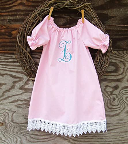 Lace Trimmed Monogrammed Girls Pink Easter Outfit