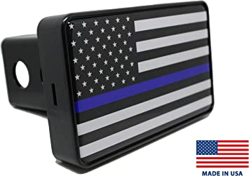 Thin Blue Line American Flag Hitch Cover Bright Hitch