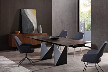 Amazon Com Whiteline Modern Living Jack Extendable Dining Table With Ceramic Top And Matte Black Base Tables,Golden Girls Home Floor Plan