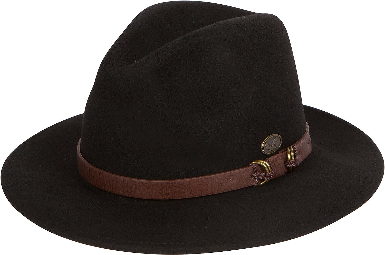 Sakkas 03EH Grant Western Style Wide Brim Wool Fedora - Black - S   Amazon.in  Clothing   Accessories 84c7eea41a7