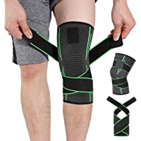 Knee Brace Support, HOMPO Compression Knee Sleeve with Adjustable Strap for Workouts, Knee Support for Running, Jogging…