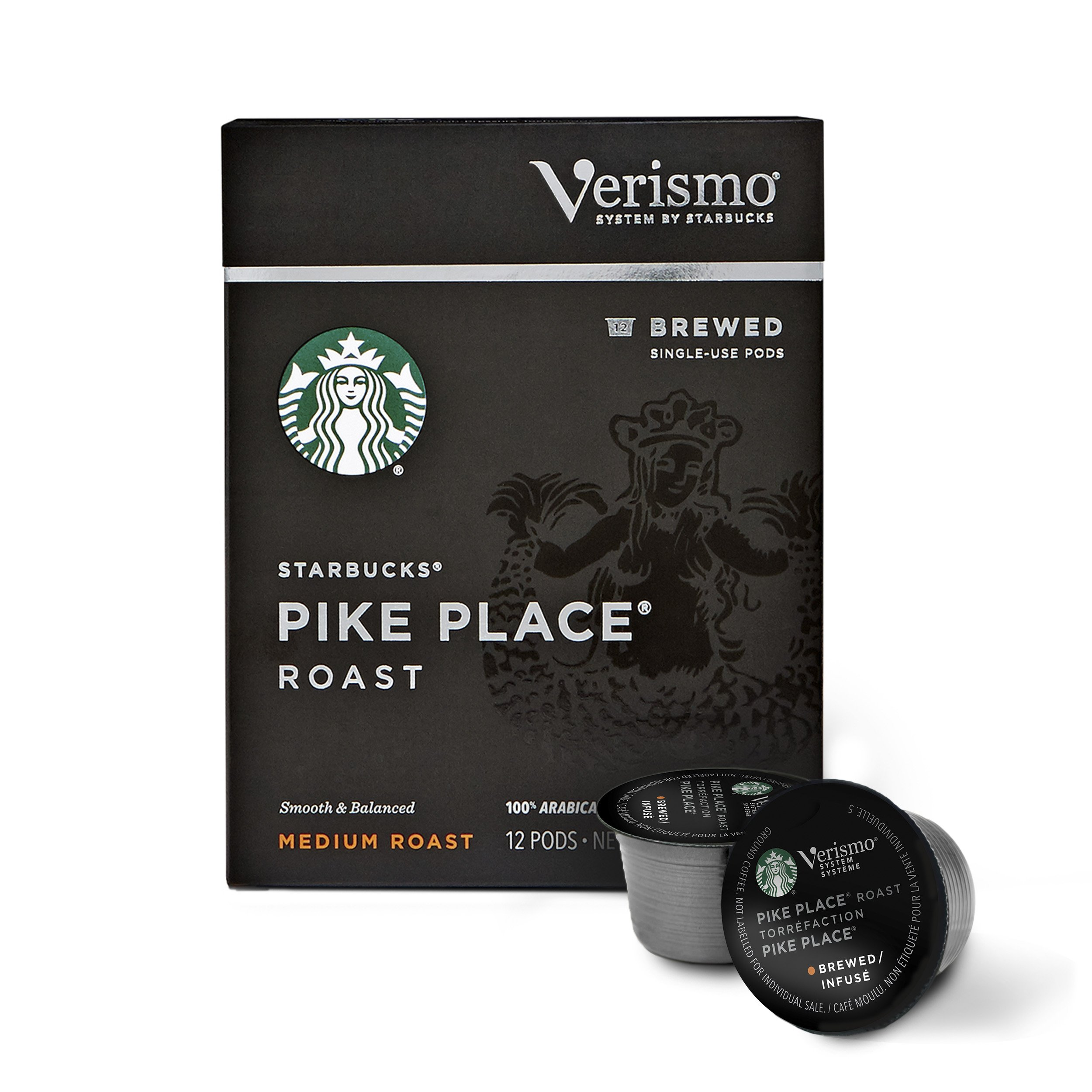 Starbucks Verismo Pike Place Roast Brewed Coffee Single Serve Verismo Pods, Medium Roast, 6 boxes of 12 (72 total Verismo pods) by Starbucks