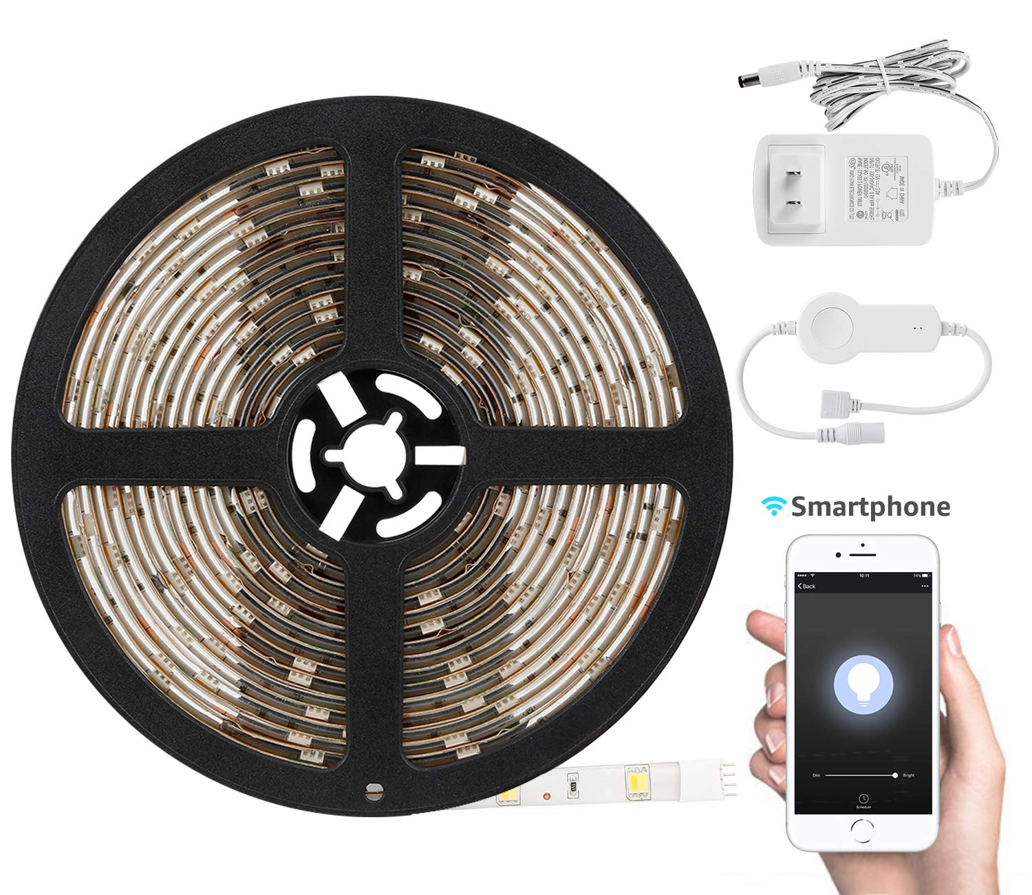 TORCHSTAR 16.4ft Led Strip Light Compatible with Alexa, WiFi Wireless Smart Phone App, Flexible 3000K Warm White 36W Lighting Kit, IP65 Waterproof, UL Listed 12V Power Supply in Party & Kitchen