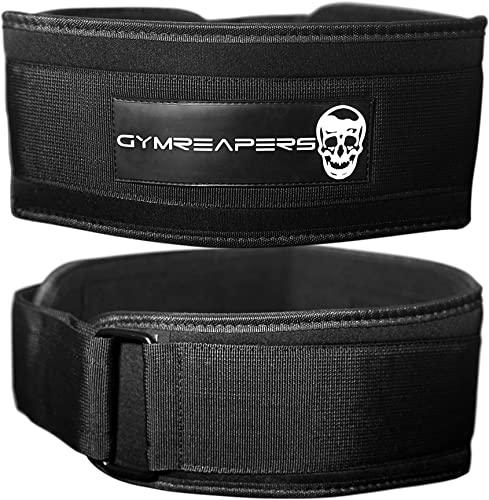 Gymreapers Weightlifting Belt for Cross Training Olympic Lifting, Squats, WODs - Low Profile 4 Inch Adjustable Velcro Weight Lifting Belt with Firm Stability and Support