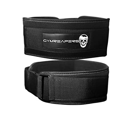 Gymreapers 4 Weightlifting Belt for Cross Training Olympic Lifting Low Profile Adjustable Velcro Weight Lifting Belt Firm Stability /& Support Squats WODs