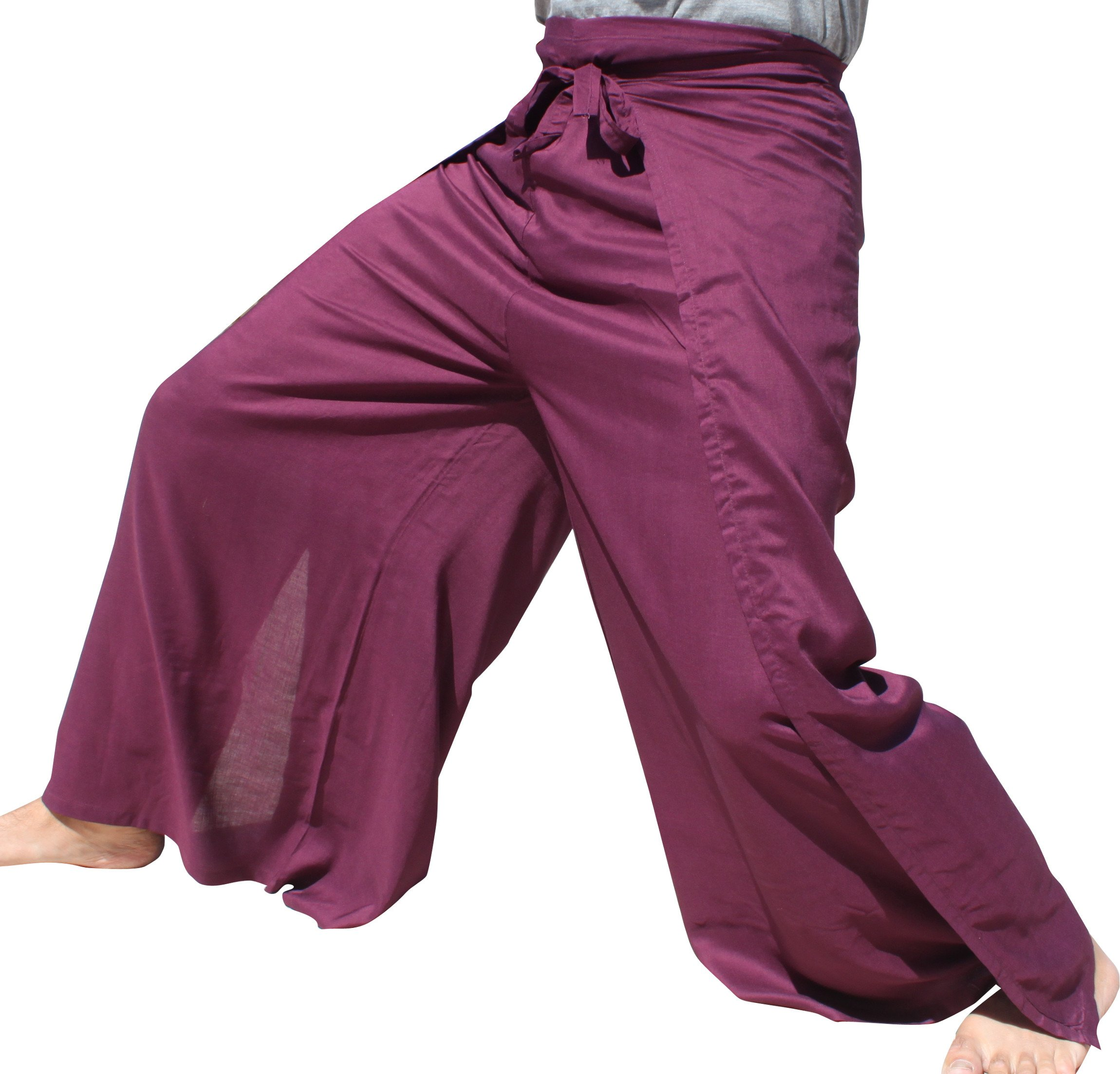 RaanPahMuang Plain Rayon Thai Drive in Wrap Around Pants Wide Cut Casual, Large, Violet