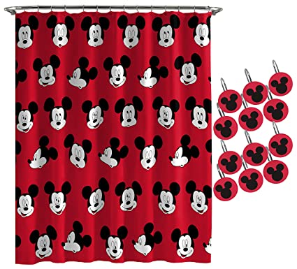 Jay Franco Disney Mickey Mouse Cute Faces Shower Curtain 12 Piece Hook Set Easy Use
