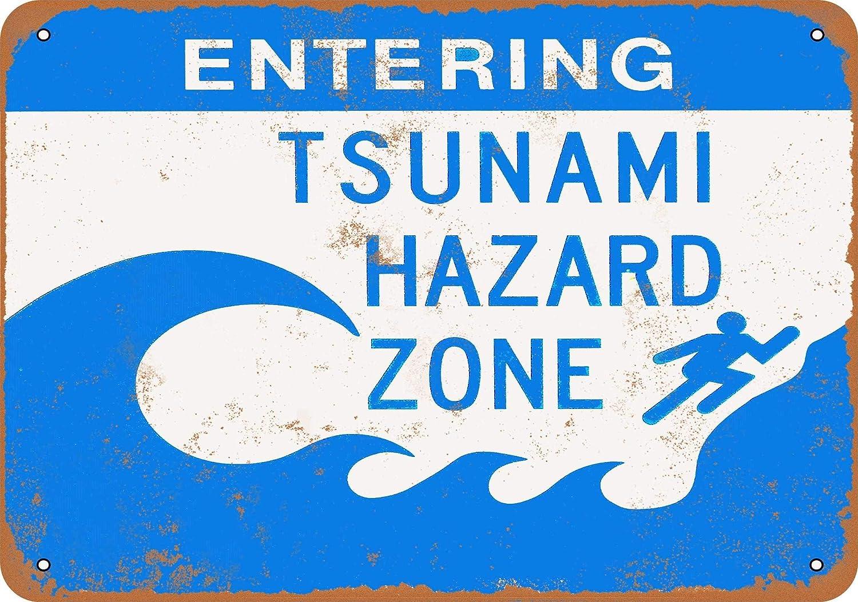 "7"" x 10"" Vintage Aluminum Retro Metal Sign - Entering Tsunami Hazard Zone - Home House Coffee Beer Drink Bar Decor"