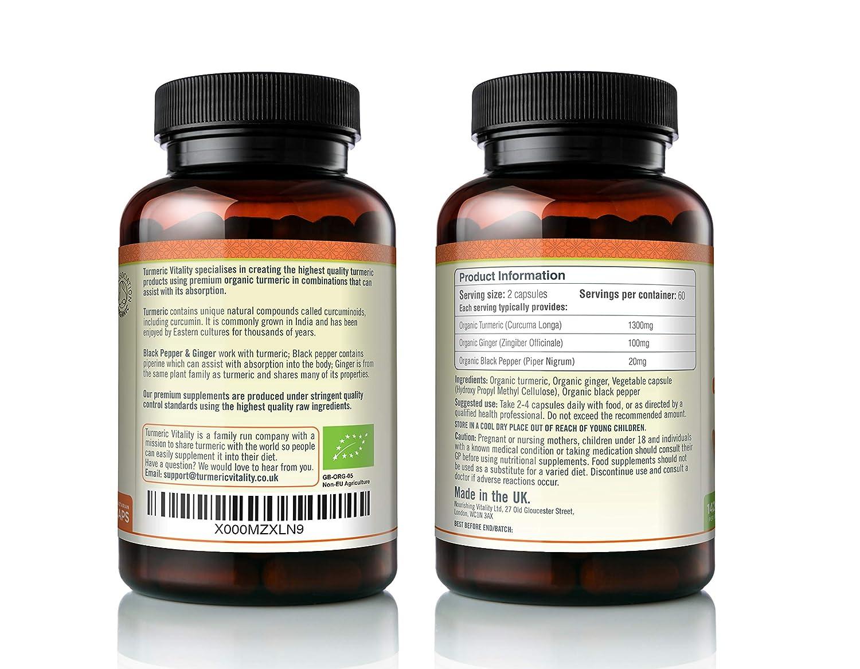 Cápsulas de Cúrcuma Orgánica 710mg Altamente Potente con Piperina y Jenjibre para una Máxima Absorción de la Curcumina | 120 Cápsulas Vegetales - 100% ...
