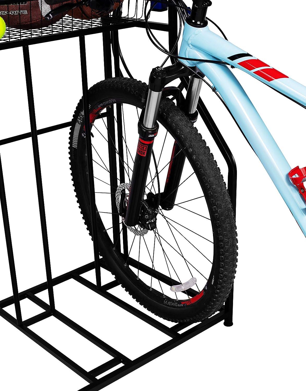Great for Parking Road Metal Floor Bicycle Nook Garage Organizer Mountain BIRDROCK HOME 3 Bike Stand Rack with Storage Helmet Hybrid or Kids Bikes Sports Storage Station Black