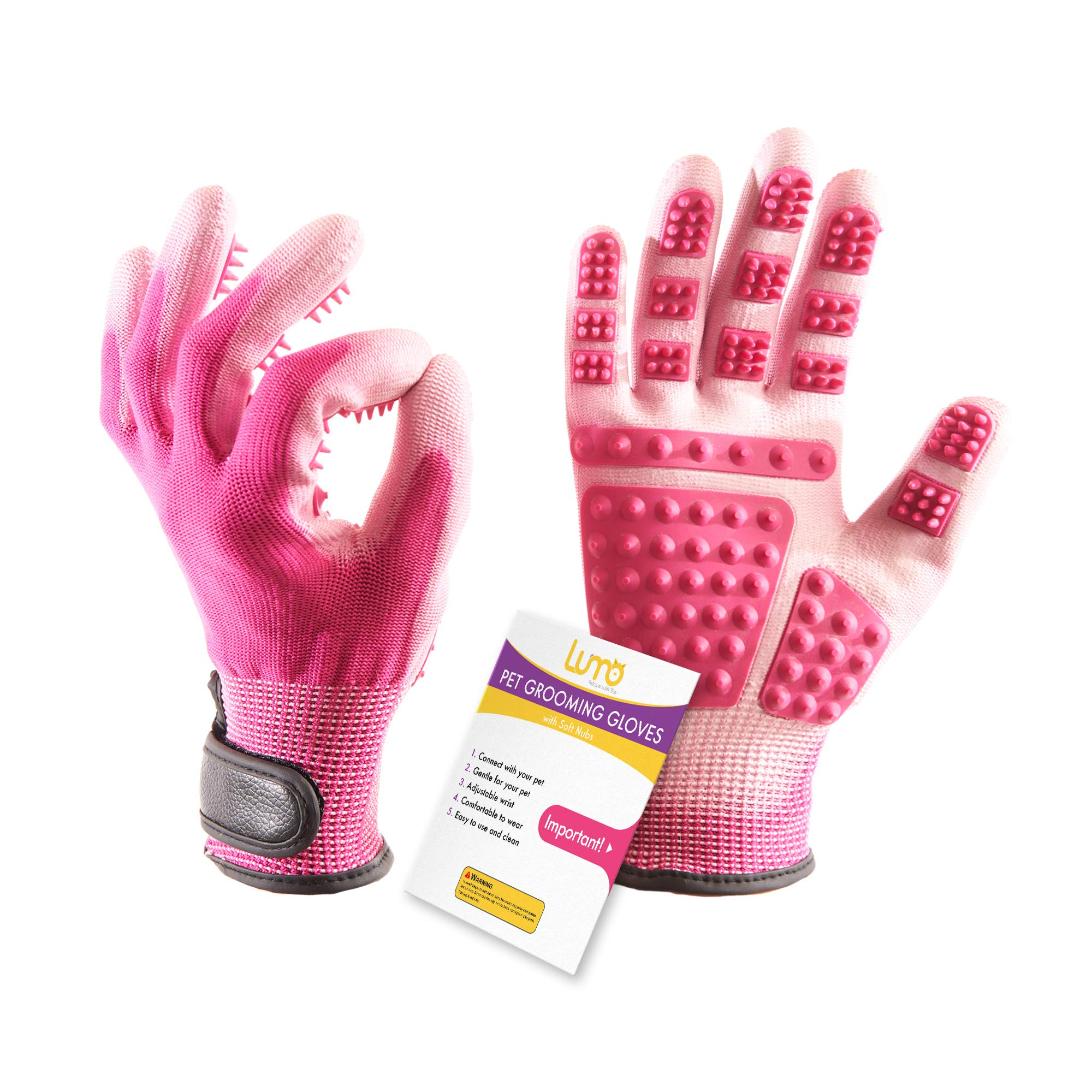 Pet Grooming Glove Deshedding Glove - Loose Pet Hair Remover Gloves, Works Better than Pet Brush (Size 7.5 Inch) - 1 Pair