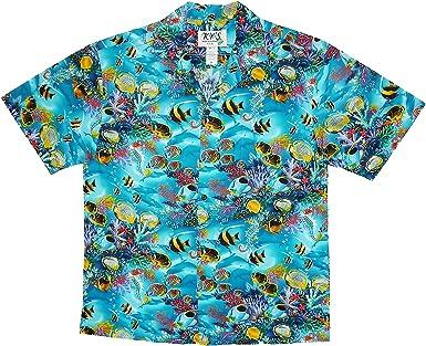 KYs | Original Camisa Hawaiana Caballeros | S-3XL | Manga Corta | Bolsillo Delantero | Estampado Hawaiano | Palmeras | Acuario Piscis Coral | Turquesa: Amazon.es: Ropa y accesorios