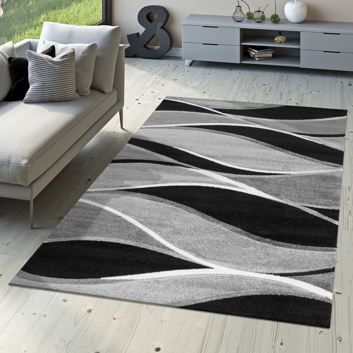 Alfombra de diseño moderna de pelo corto gris negra y turquesa a rayas onduladas