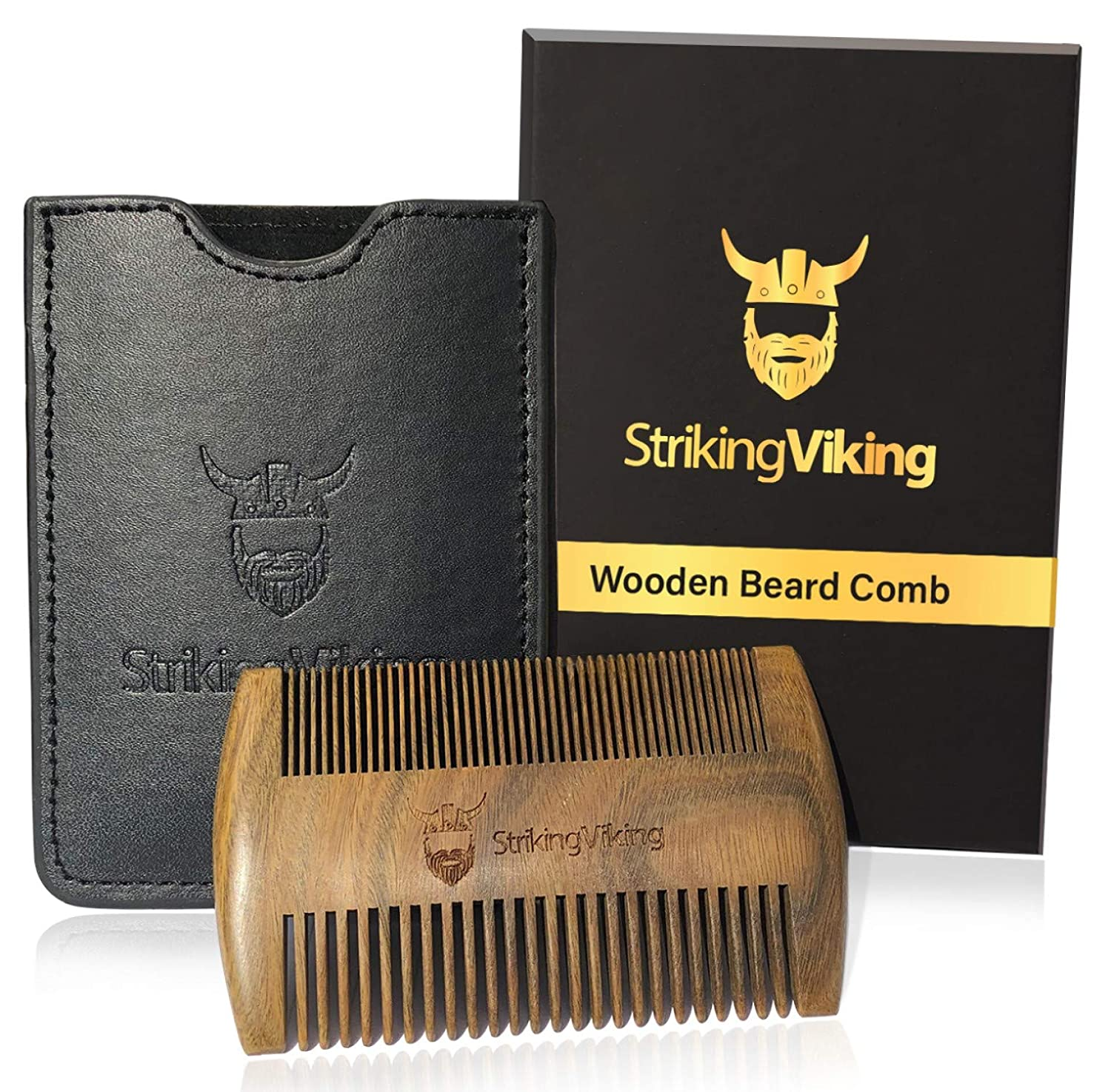 Striking Viking Wooden Beard Comb & Case