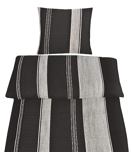 4 tlg Bettwäsche 135 x 200 cm schwarz rot Streifen Microfaser 2 Garnituren Neu