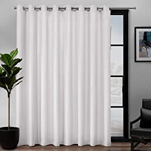 Exclusive Home Curtains Loha Patio Grommet Top Single Curtain Panel, 108X84, Winter White