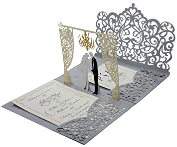 amazon com pack of 25 pop up 3d wedding invitations with silver