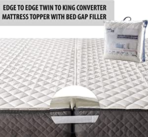 BEDIA 2in1 Bed Bridge Combined with Edge to Edge Mattress Topper   Twin to King Mattress Converter Kit   Storage Bag Included