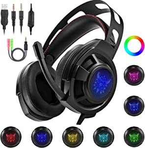 Ericy M190 Stereo Gaming Headset for PS4, PC, Xbox One Controller, Noise Cancelling Over Ear Headphones with Mic, LED Light, Bass Surround, Soft Memory Earmuffs for Laptop Mac Nintendo Switch Games