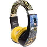 Batman 30382 Kid Safe Over the Ear Headphone with Volume Limiter, w/Volume Limiter, 3.5MM Stereo Jack, Bat Man Blue Black & Yellow Super Hero by Sakar