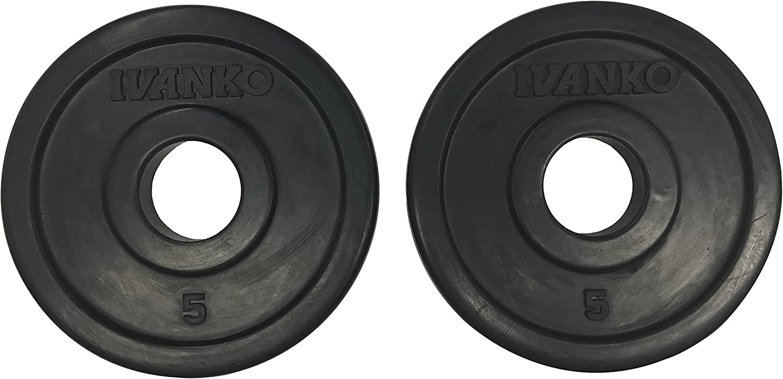 Ivanko RUBO-5 Rubber Olympic Plate, Black, 5 lbs Pair
