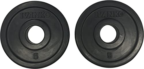 Ivanko RUBO-5 Rubber Olympic Plate, Black, 5 lbs Pair