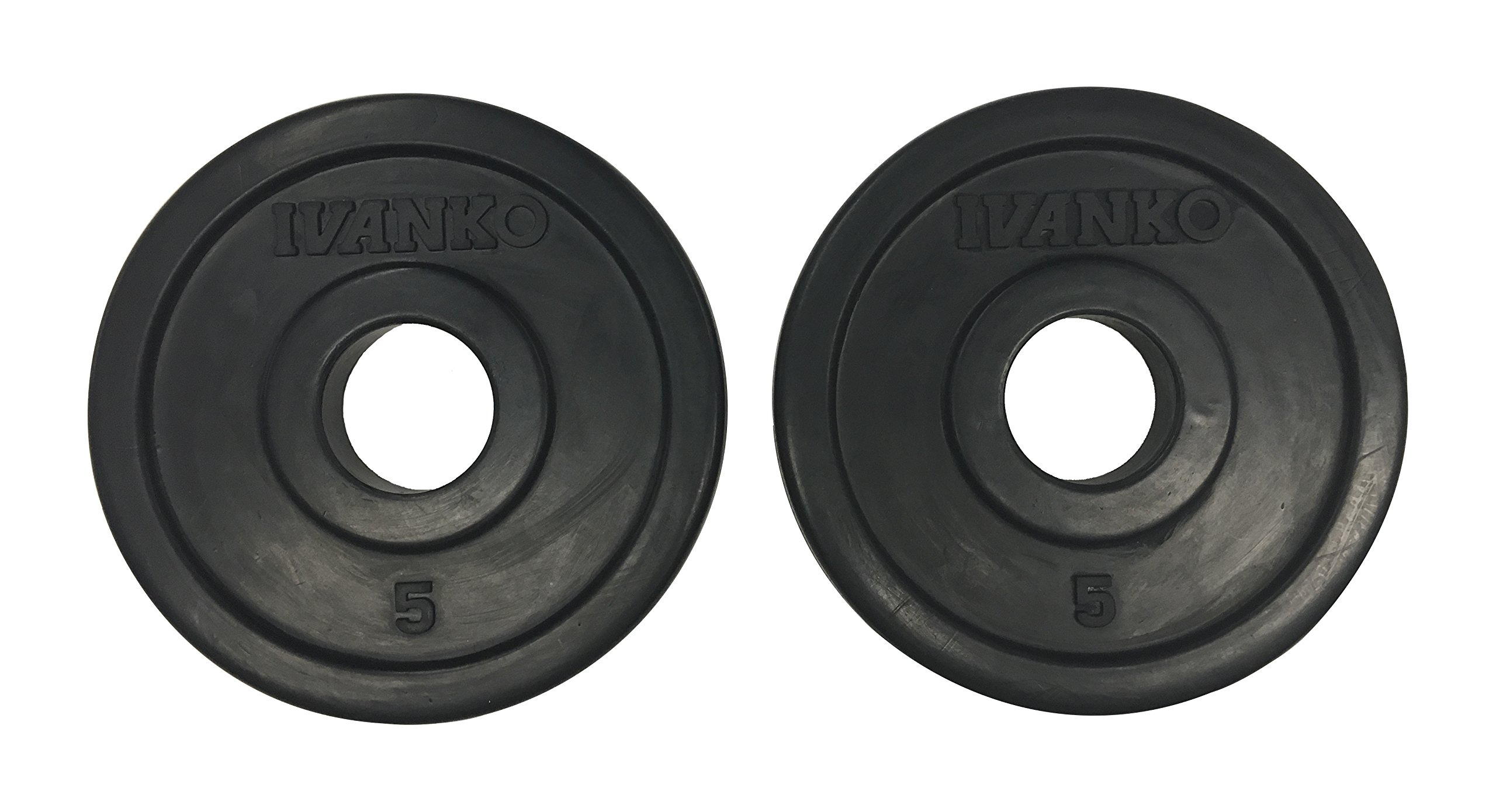 IVANKO (RUBO-5) Rubber Olympic Plate, Black, 5 lbs (PAIR) by Ivanko