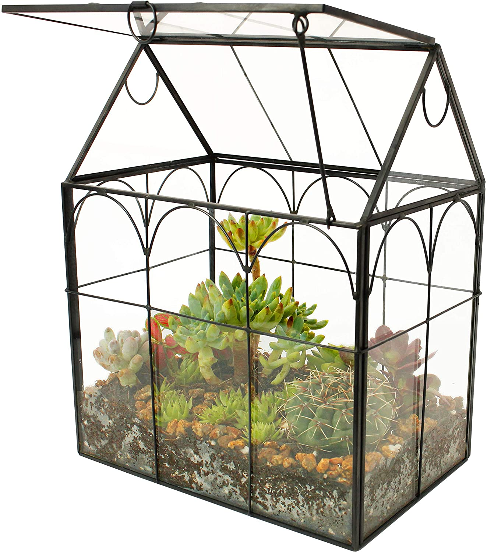 ElegantLife Succulent Terrarium,House Shape Handmade Succulent PotWith Top Swing Lid Planter Case For Fern Moss, Cacti, Air Plants (No Plant Included)