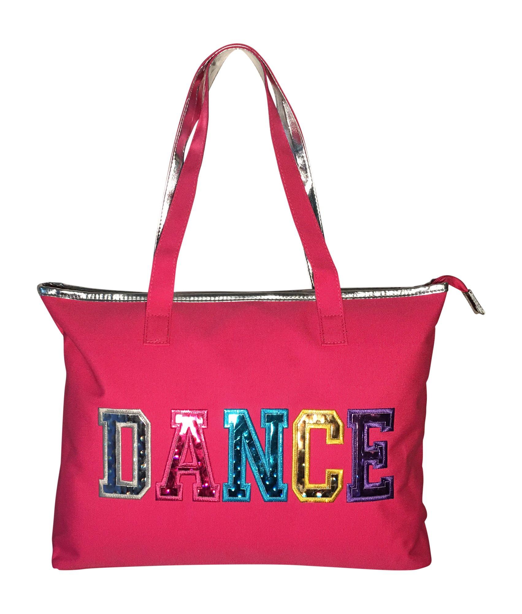 Dance Tote Bag With Multicolored Dance Print (Fuchsia)