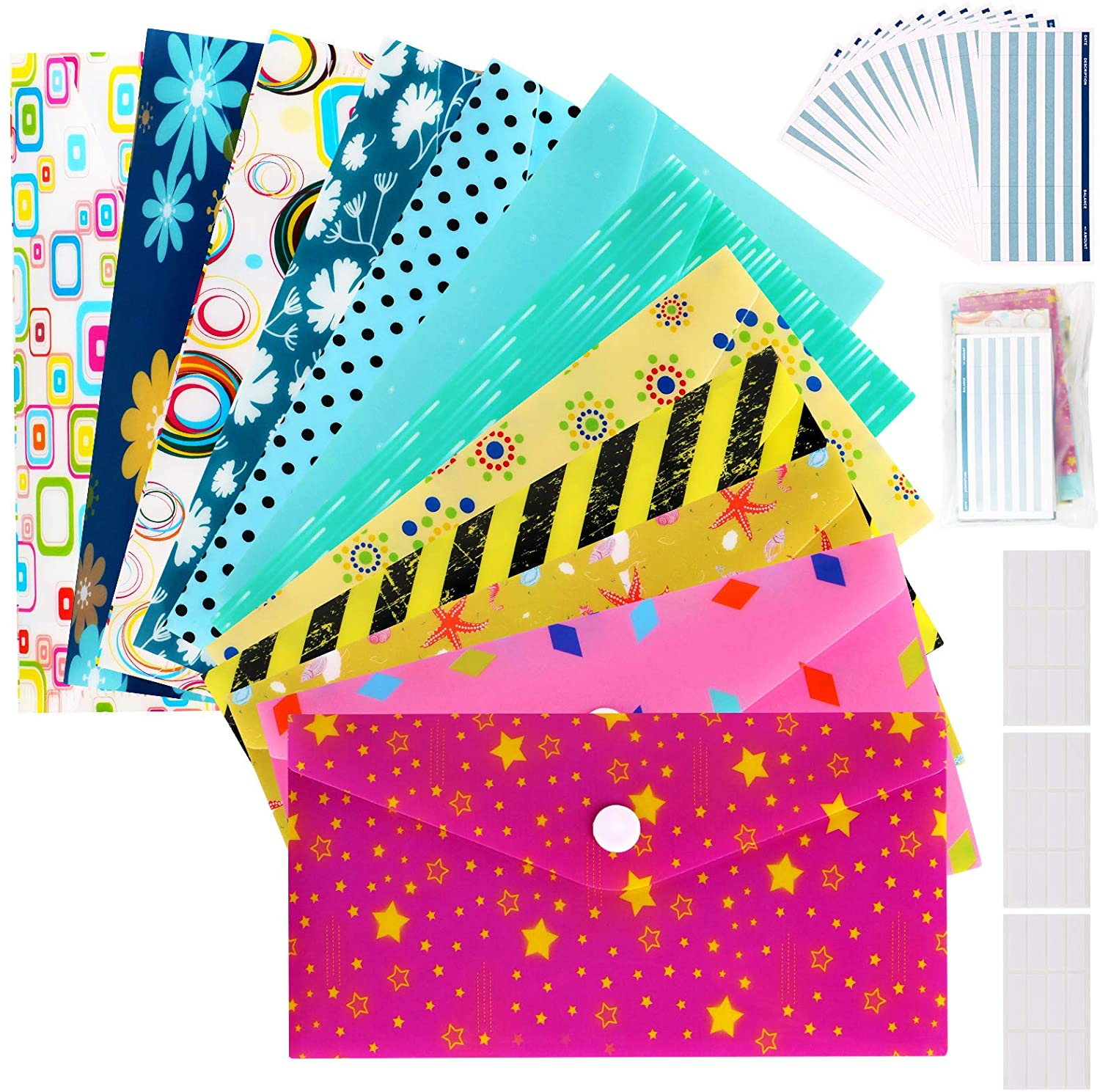 Cash Envelopes Plastic for Budget System - Money Envelopes for Budgeting and Saving, 12 Pack of Assorted Colors, Tear and Water Resistant, Includes 12 Expense Tracking Budget Sheets & 3 Label Sheets : Office Products